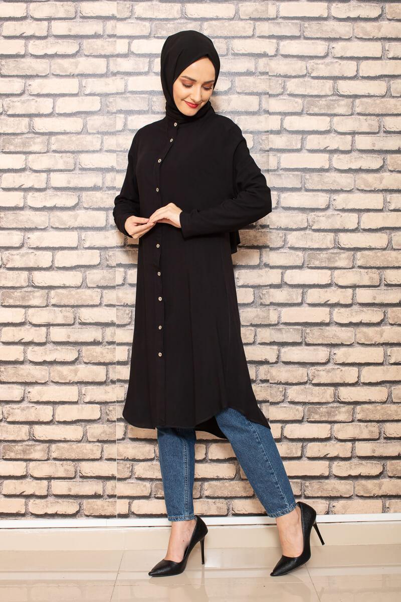 Moda Pinhan - Önden Düğmeli Tesettür Tunik Siyah (1)