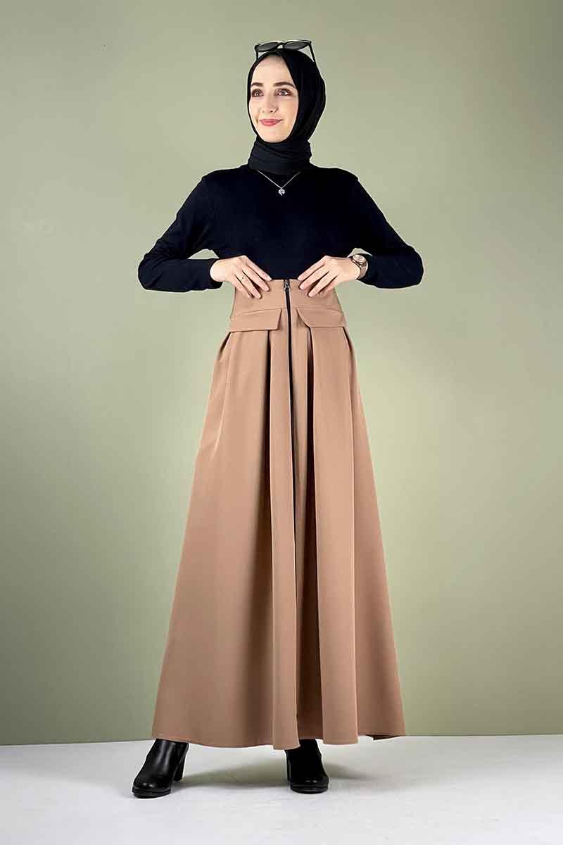 Moda Pinhan - Önü Fermuarlı Etek Camel (1)