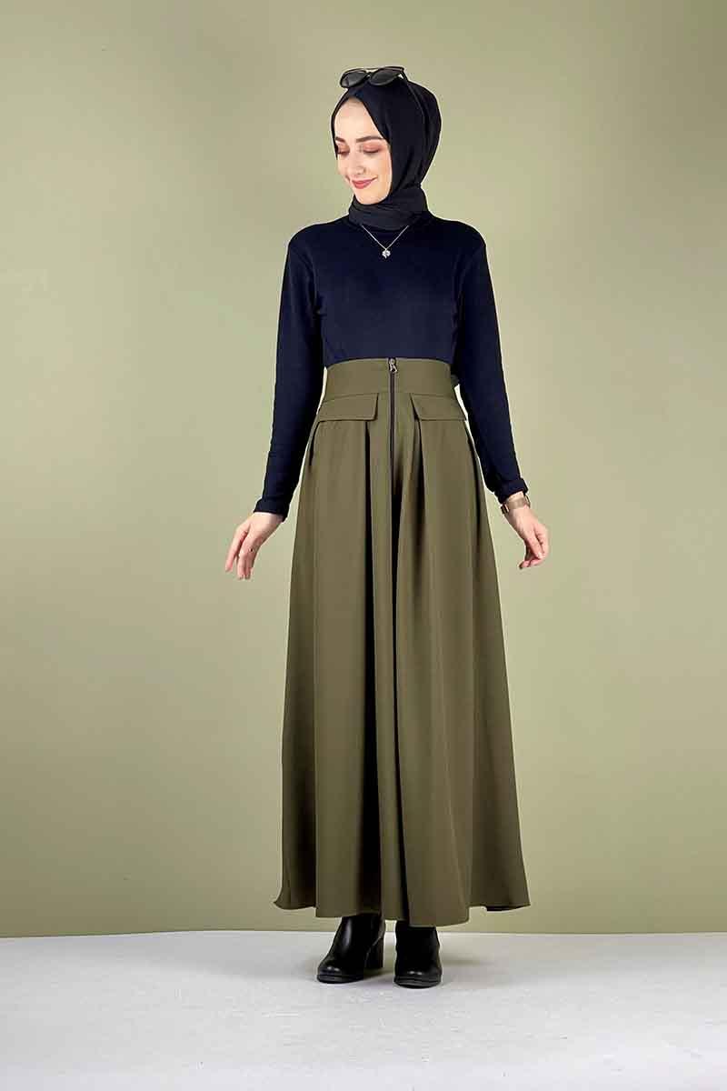 Moda Pinhan - Önü Fermuarlı Etek Haki (1)