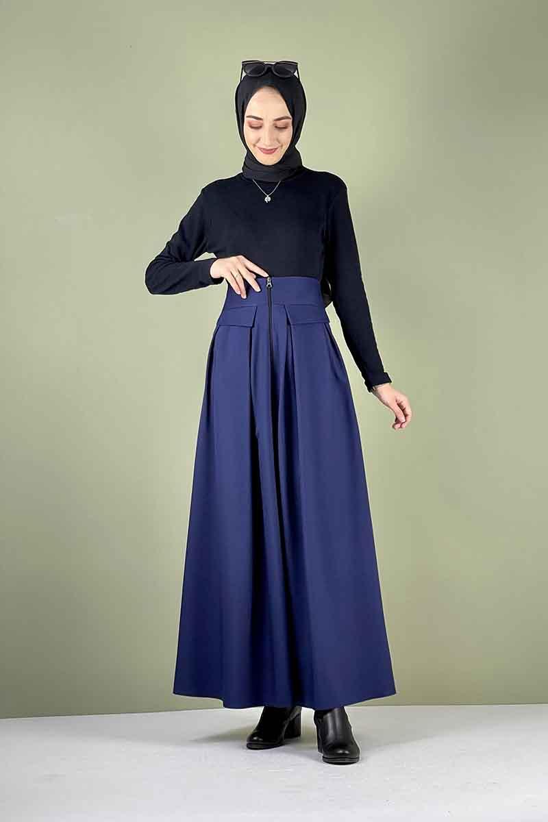 Moda Pinhan - Önü Fermuarlı Etek Lacivert (1)