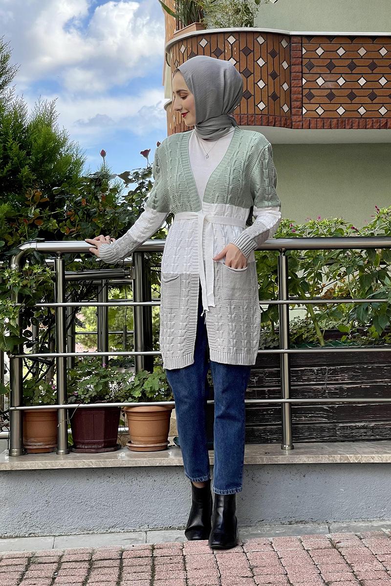 Moda Pinhan - Örgülü Triko Hırka Çağla Yeşili (1)