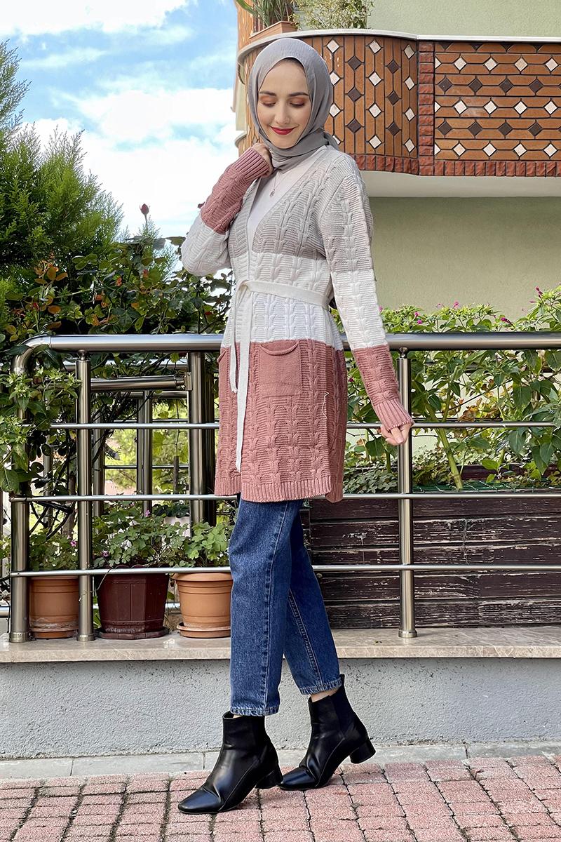 Moda Pinhan - Örgülü Triko Hırka Gri (1)