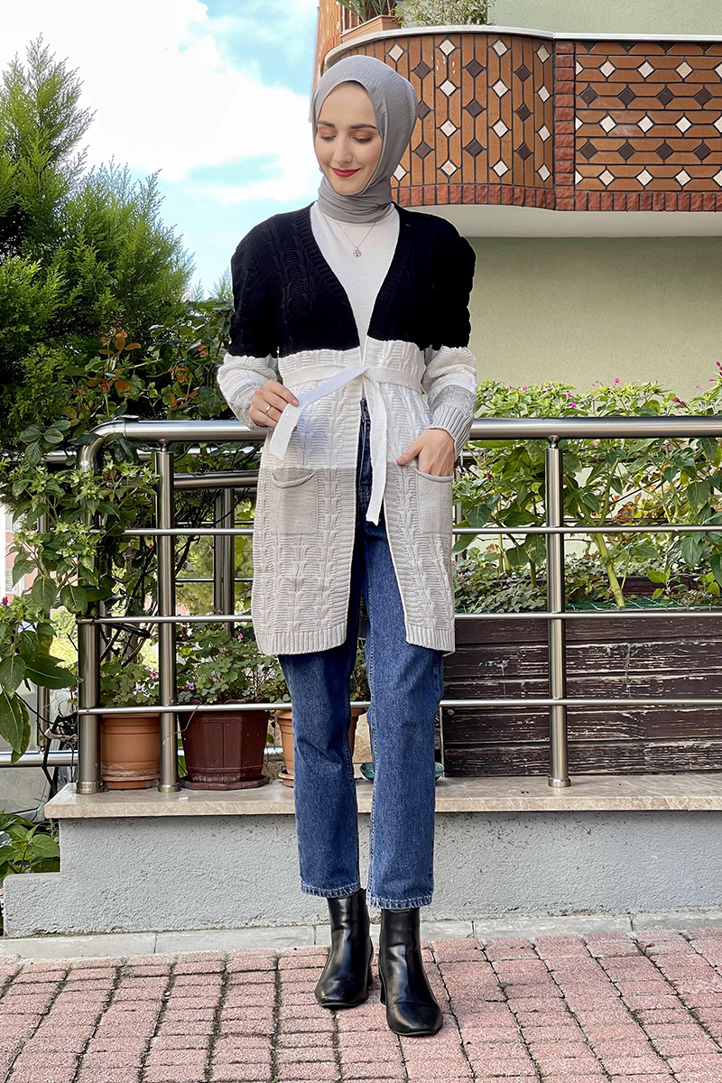 Moda Pinhan - Örgülü Triko Hırka Siyah (1)