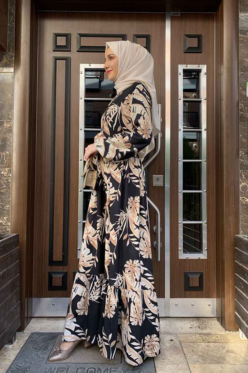 Moda Pinhan - Palmiye Desenli Elbise Siyah Bej (1)