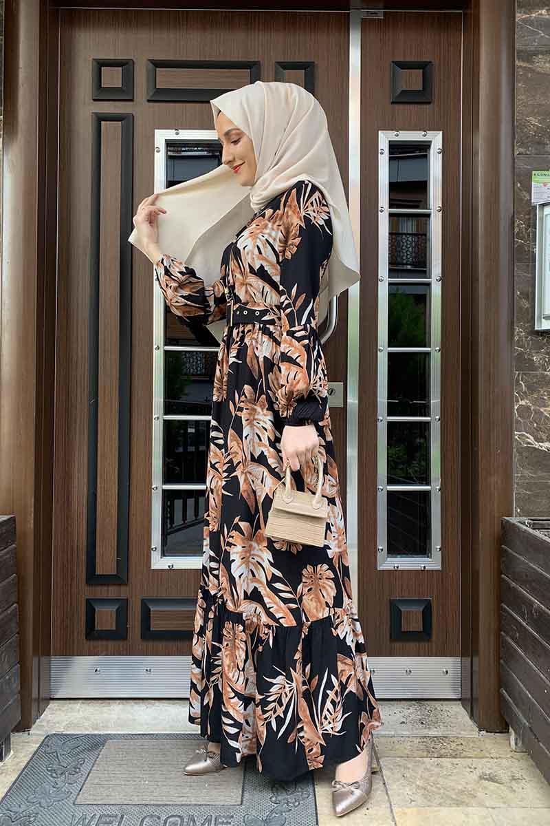 Moda Pinhan - Palmiye Desenli Elbise Siyah Kiremit (1)