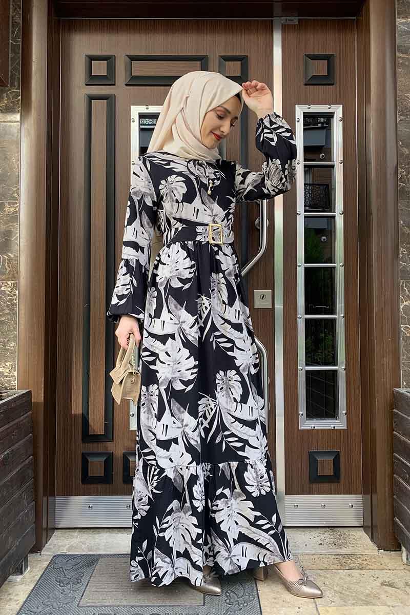 Palmiye Desenli Elbise Siyah Vizon - Thumbnail
