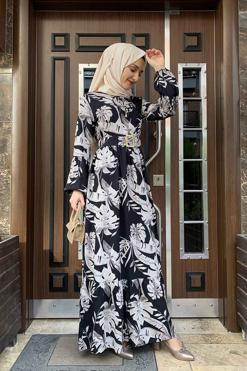 Palmiye Desenli Elbise Siyah Vizon
