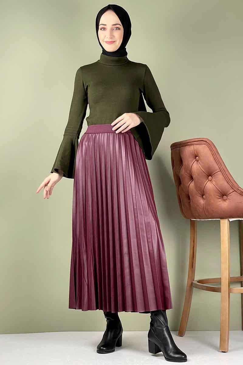 Moda Pinhan - Piliseli Deri Etek Bordo (1)