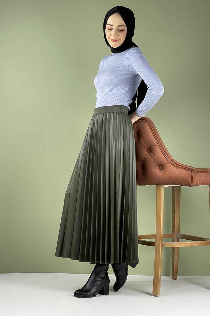 Moda Pinhan - Piliseli Deri Etek Haki (1)