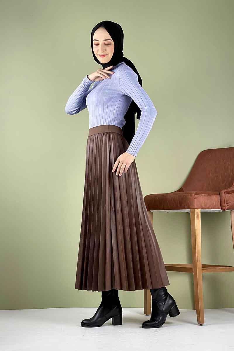 Moda Pinhan - Piliseli Deri Etek Kahverengi (1)