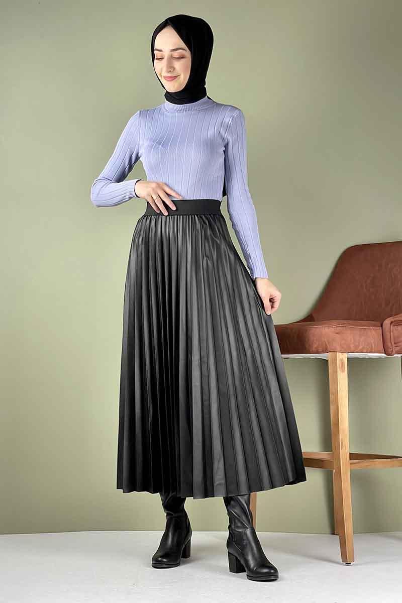 Moda Pinhan - Piliseli Deri Etek Siyah (1)