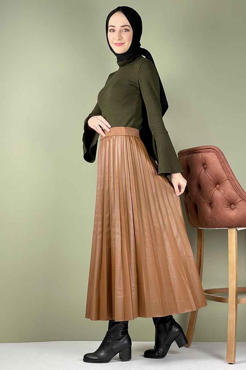 Moda Pinhan - Piliseli Deri Etek Taba (1)
