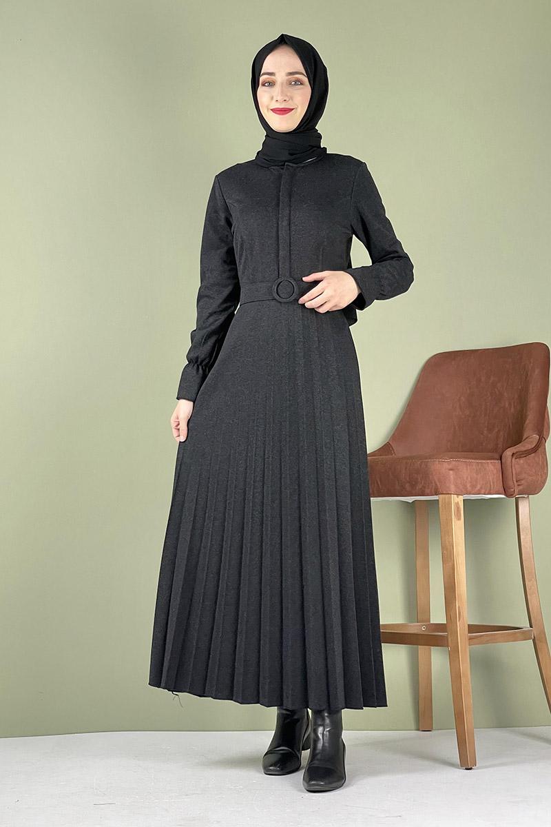 Moda Pinhan - Piliseli Ecrin Elbise Antrasit (1)