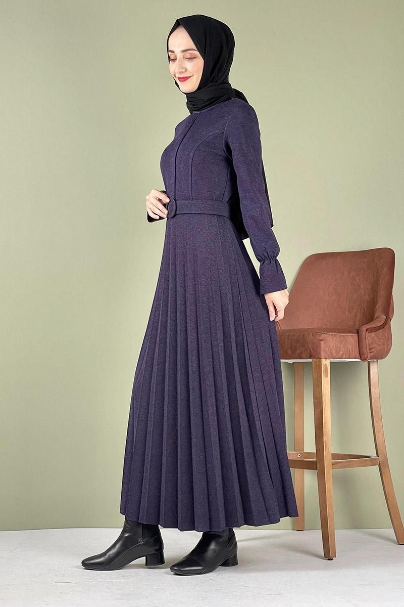 Moda Pinhan - Piliseli Ecrin Elbise Mor (1)