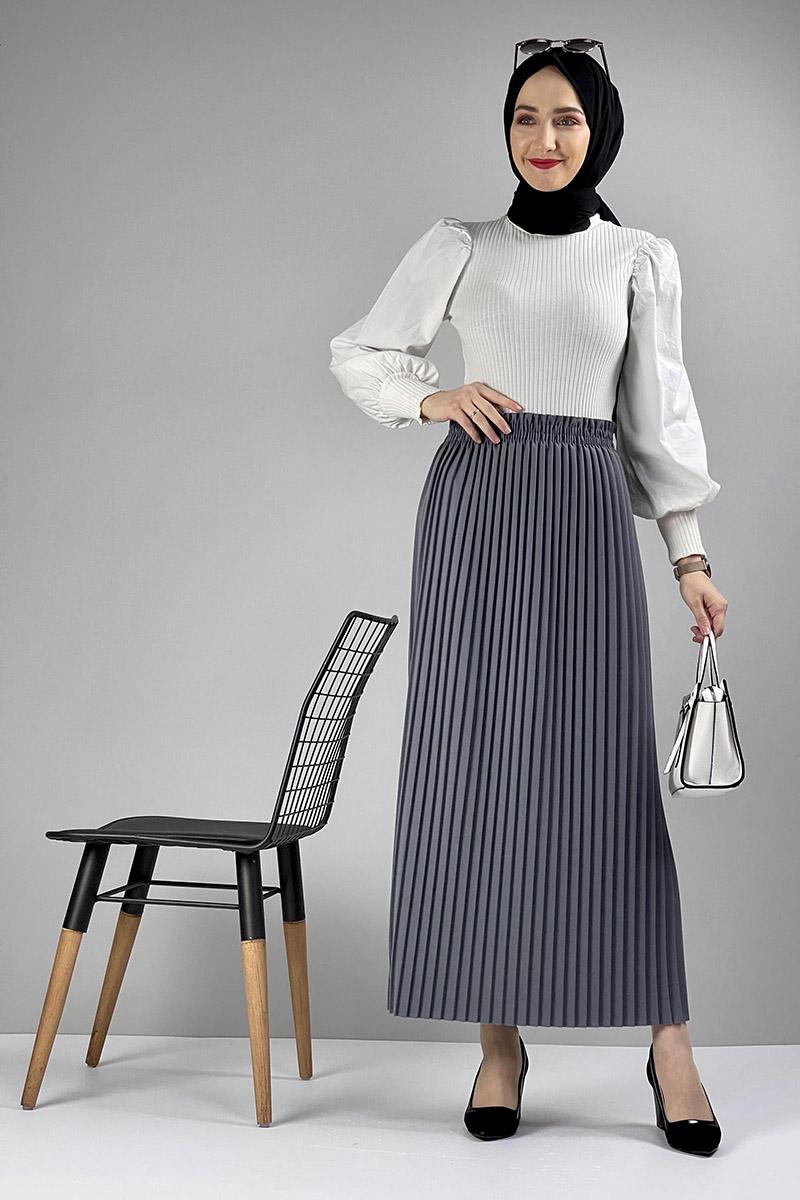Moda Pinhan - Piliseli Etek Gri (1)
