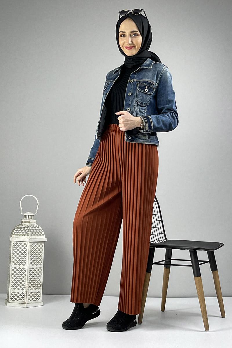 Moda Pinhan - Piliseli Pantolon Taba (1)