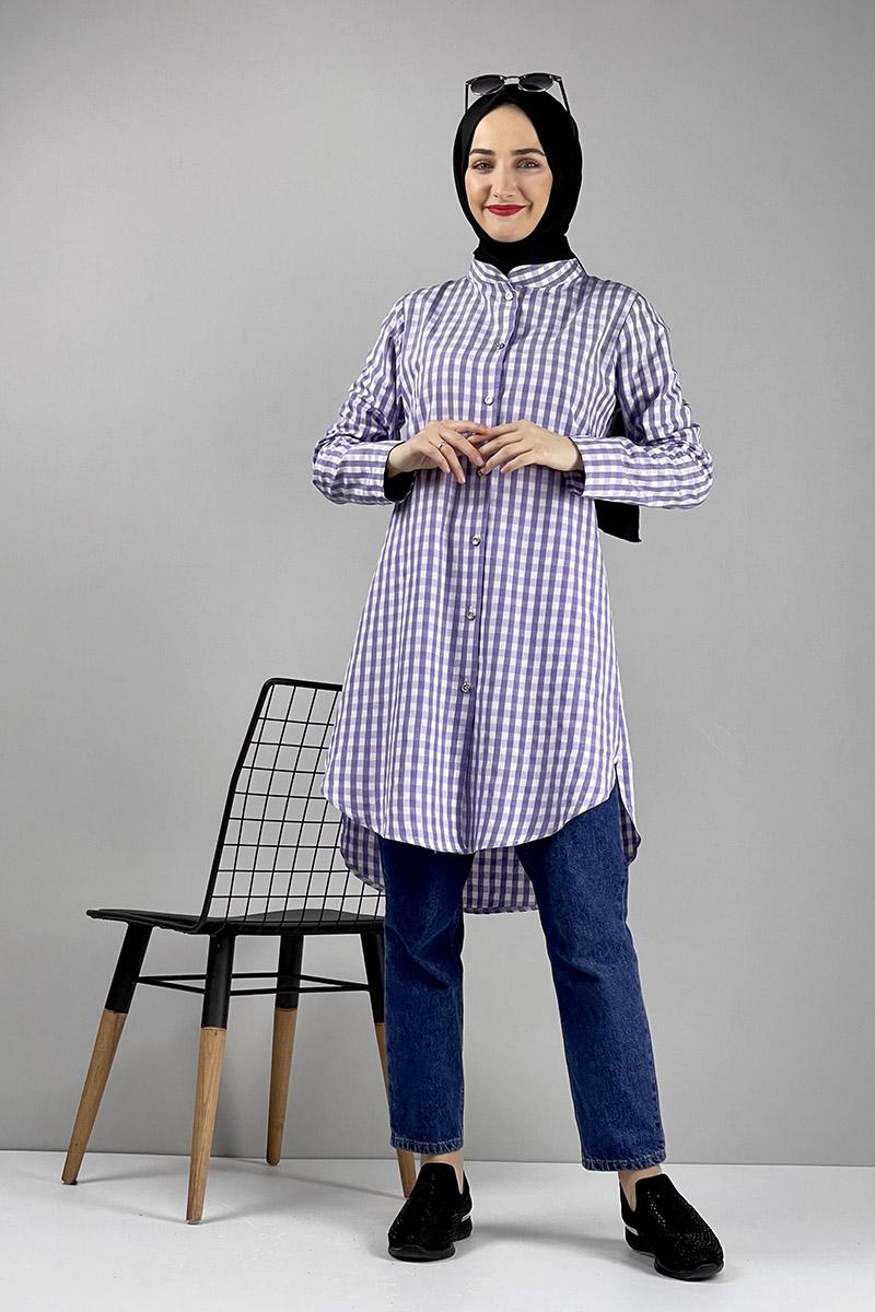 Moda Pinhan - Pötikare Desenli Tunik Lila (1)