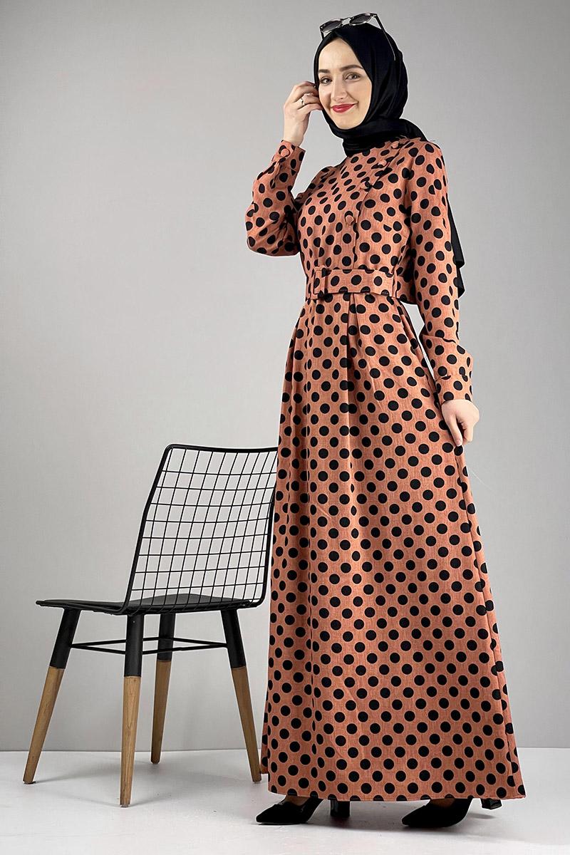 Moda Pinhan - Puantiyeli Tesettür Elbise Kiremit (1)