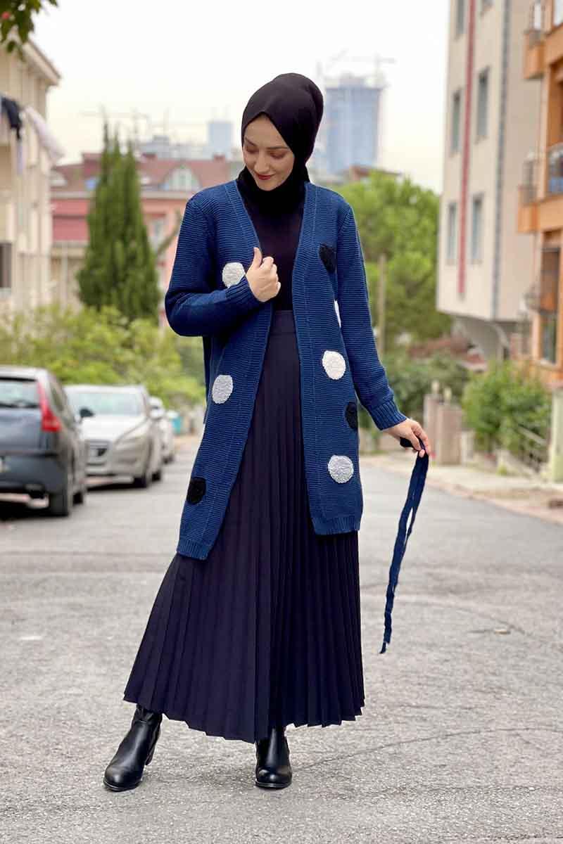 Moda Pinhan - Puantiyeli Triko Hırka Lacivert (1)