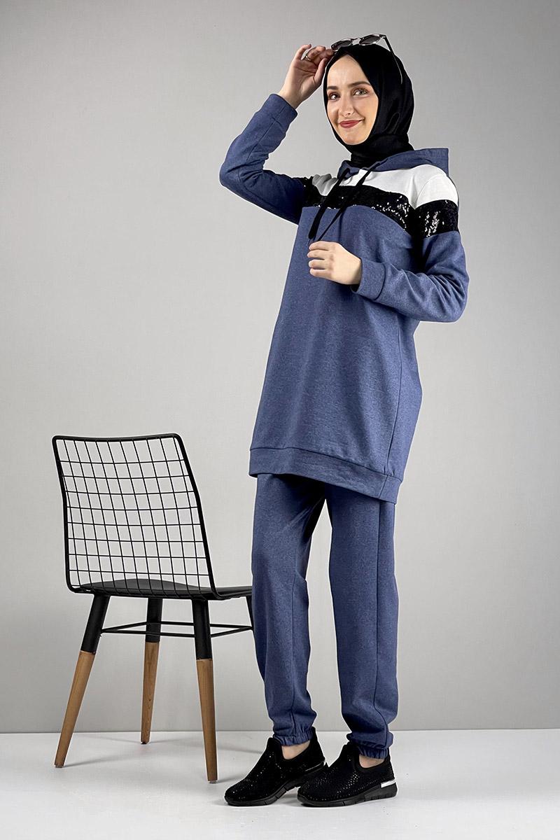 Moda Pinhan - Pul Payet Detaylı Eşofman Takımı İndigo (1)