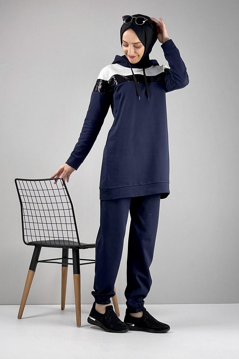 Moda Pinhan - Pul Payet Detaylı Eşofman Takımı Lacivert (1)