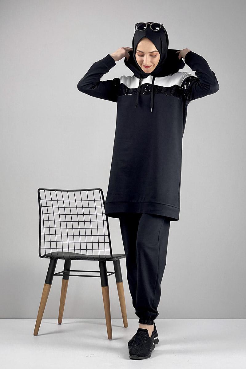 Moda Pinhan - Pul Payet Detaylı Eşofman Takımı Siyah (1)