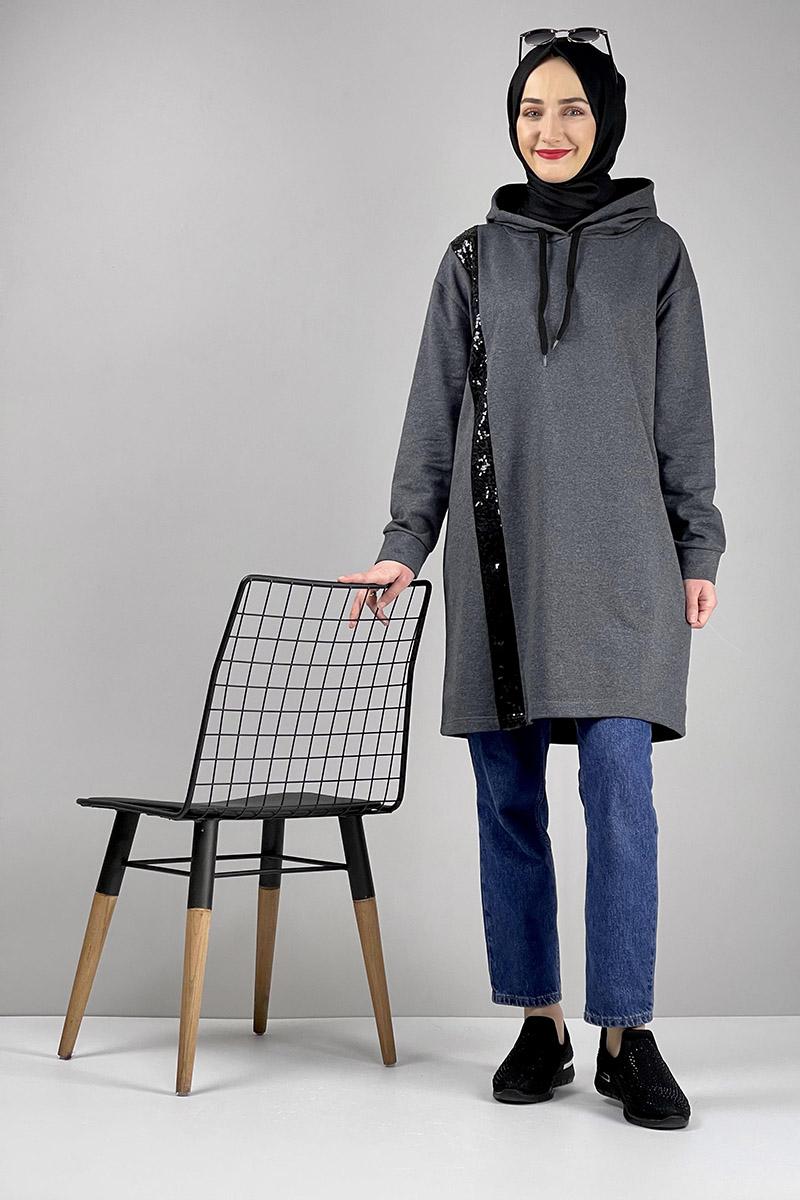 Moda Pinhan - Pul Payet Detaylı Spor Tunik Antrasit (1)