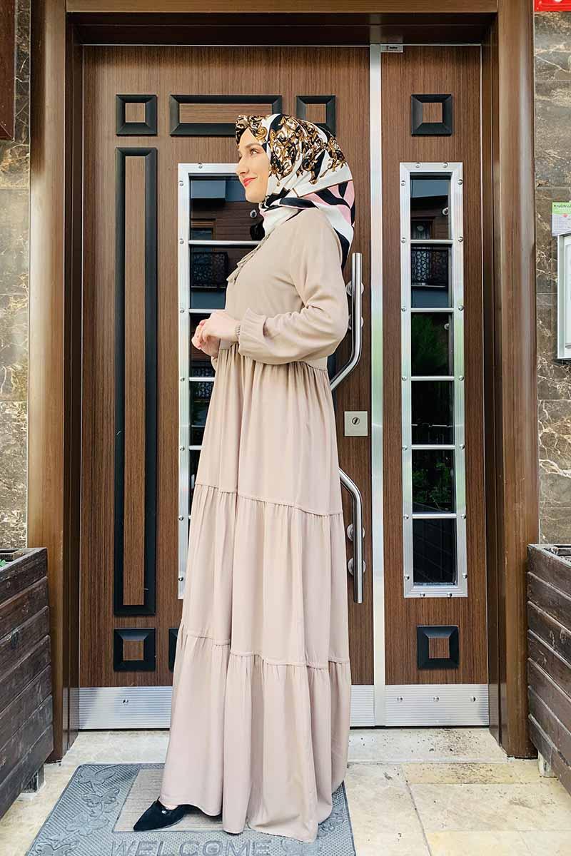 Moda Pinhan - Püskül Detaylı Elbise Vizon (1)