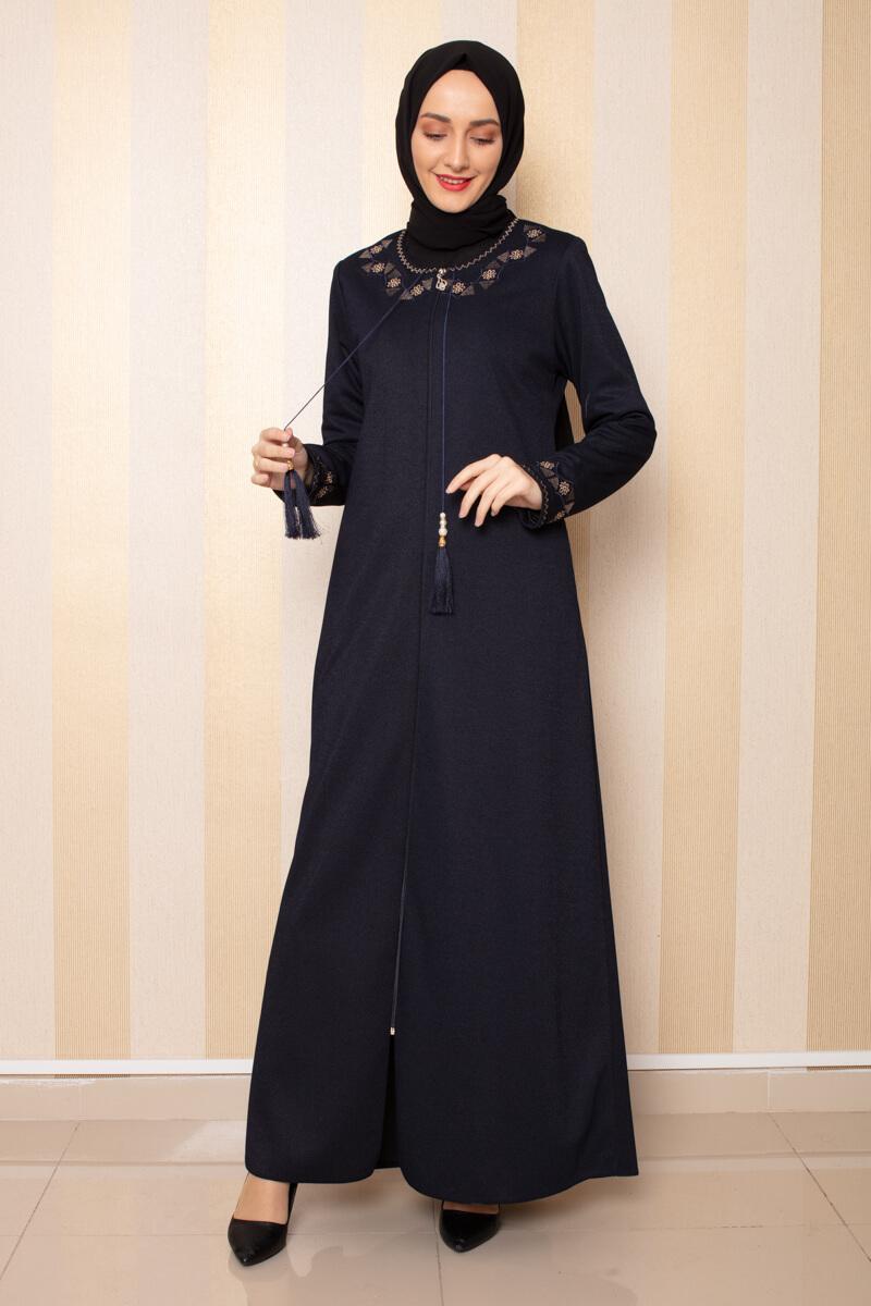 Moda Pinhan - Püskül Detaylı Ferace Lacivert (1)