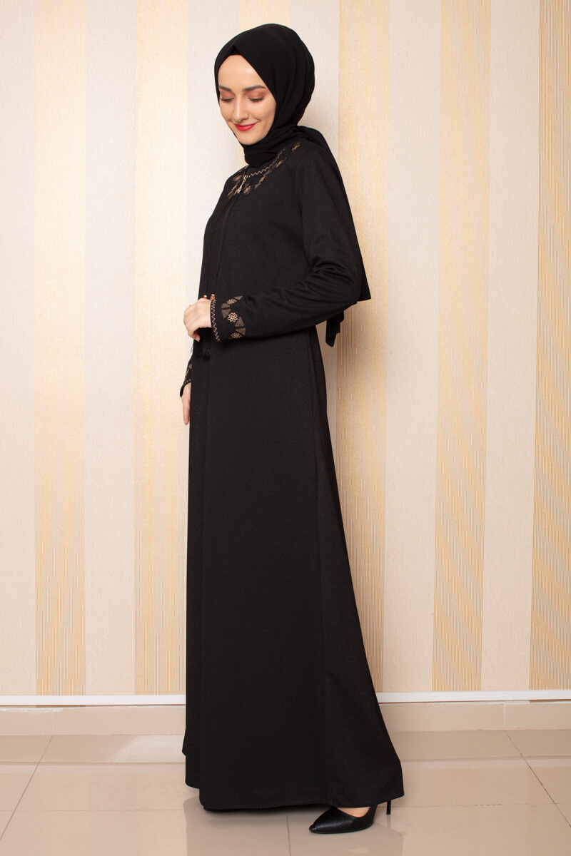 Moda Pinhan - Püskül Detaylı Ferace Siyah (1)