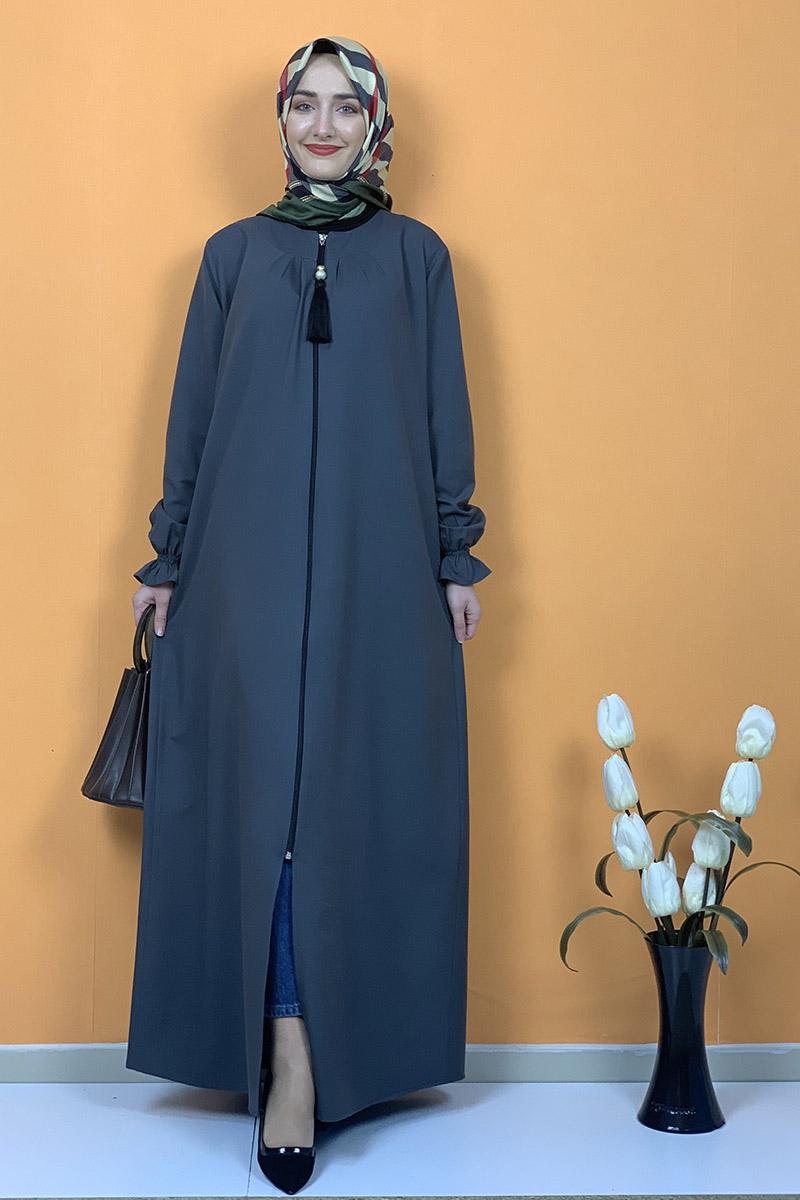 Moda Pinhan - Püsküllü Ferace Antrasit (1)