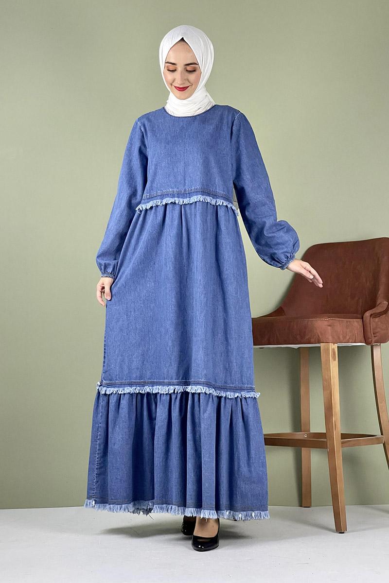 Moda Pinhan - Saçaklı Kot Elbise Açık Mavi (1)
