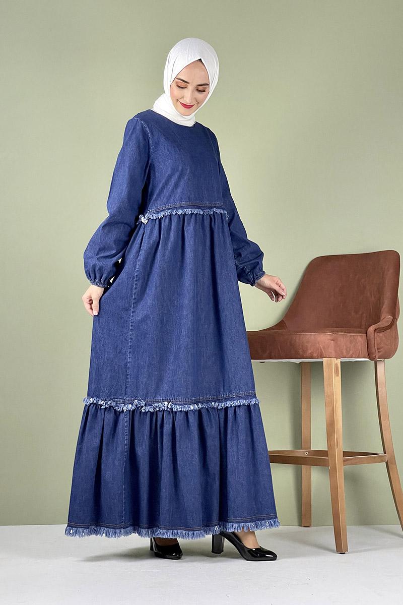 Moda Pinhan - Saçaklı Kot Elbise Koyu Mavi (1)