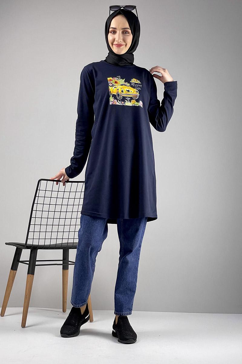 Moda Pinhan - Salaş Baskılı Tunik Lacivert (1)