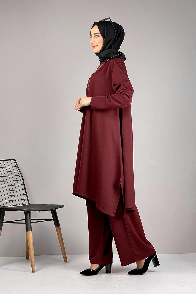 Moda Pinhan - Salaş Tesettür Takım Bordo (1)