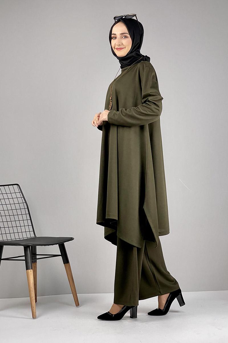 Moda Pinhan - Salaş Tesettür Takım Haki (1)