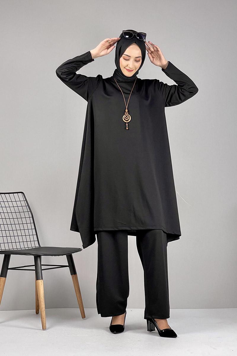 Moda Pinhan - Salaş Tesettür Takım Siyah (1)