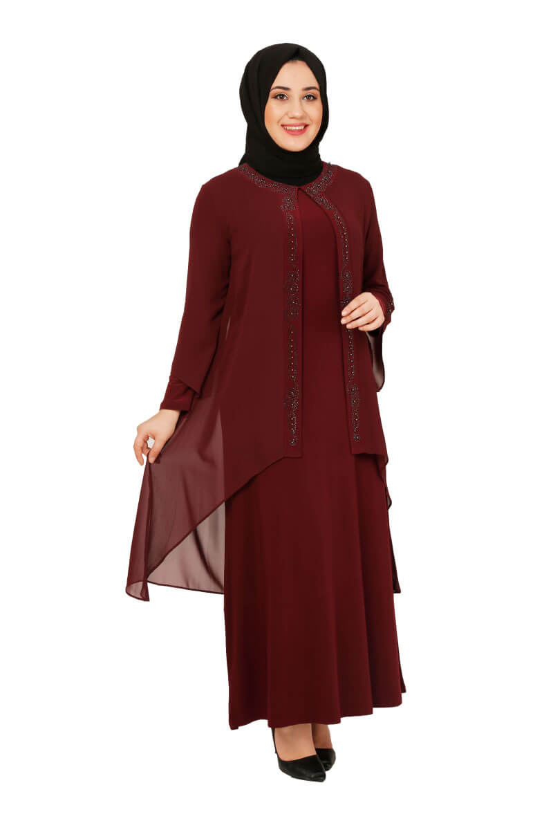 Moda Pinhan - Şifon Detaylı Elbise Bordo (1)