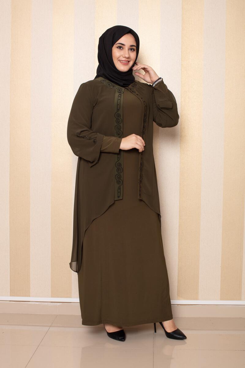 Moda Pinhan - Şifon Detaylı Elbise Haki (1)