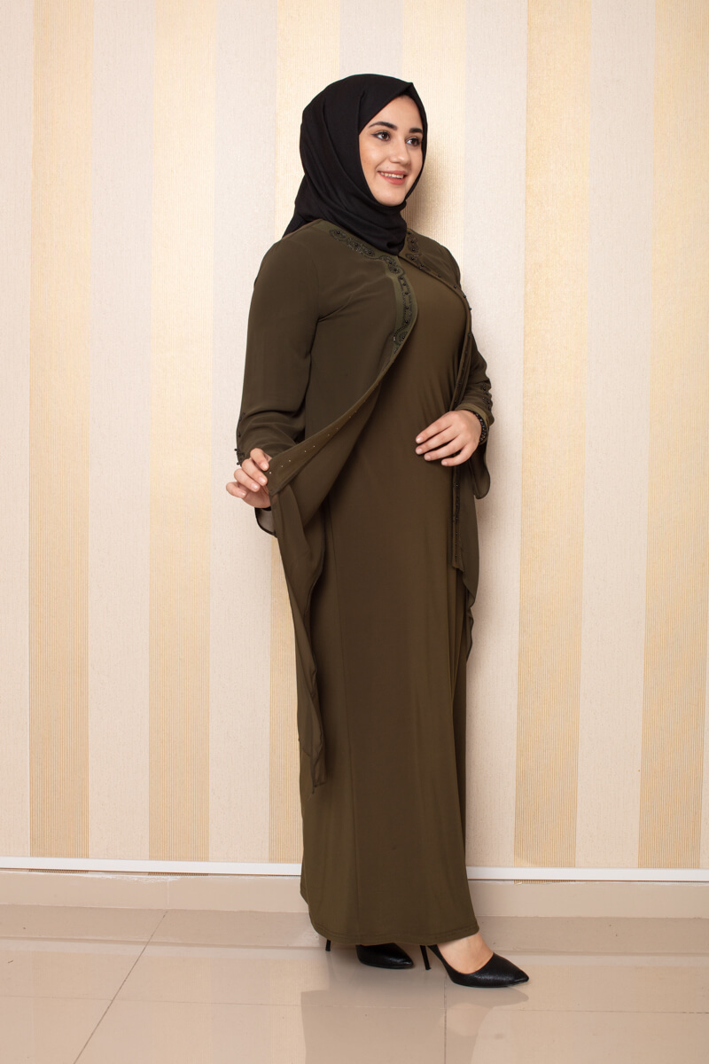 Şifon Detaylı Elbise Haki - Thumbnail