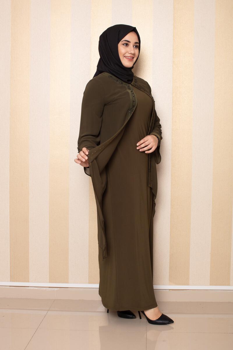 Şifon Detaylı Elbise Haki