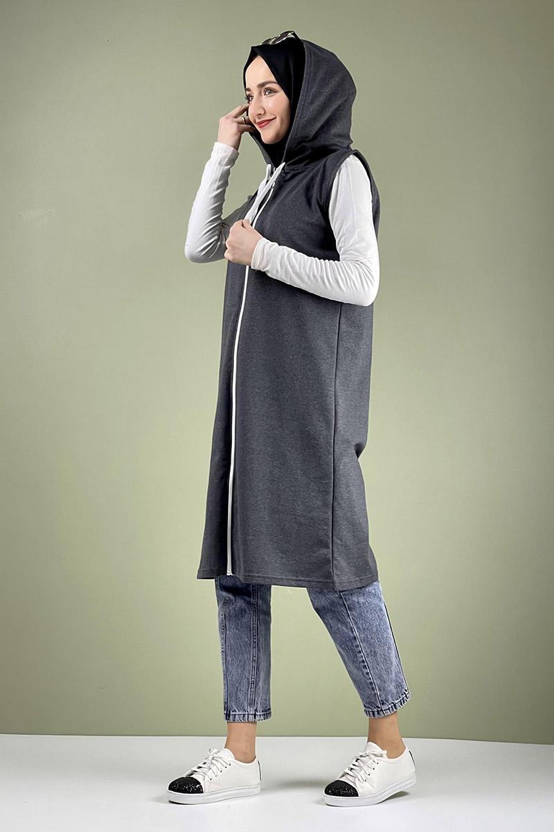 Moda Pinhan - Spor Kapişonlu Yelek Gri (1)