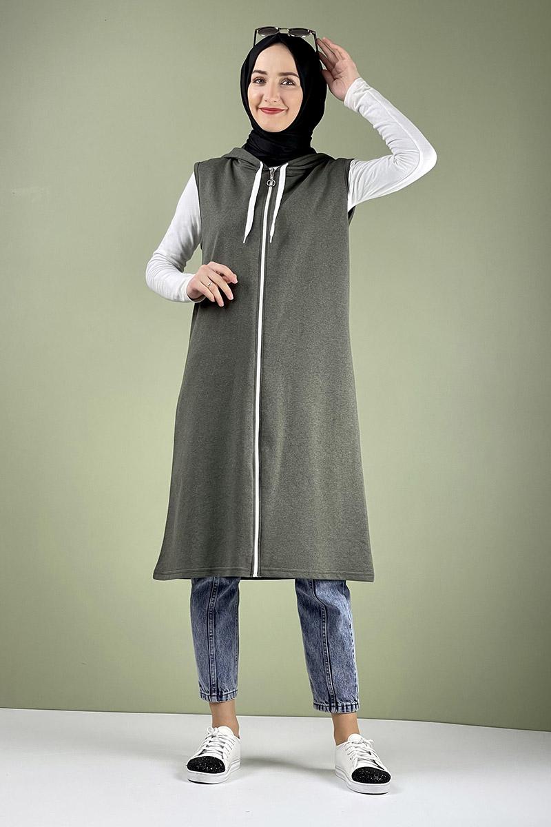 Moda Pinhan - Spor Kapişonlu Yelek Haki (1)