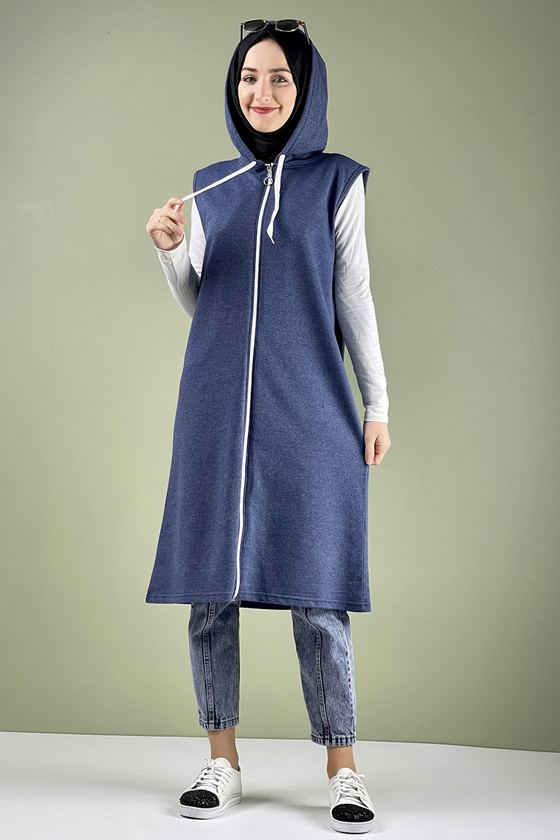Moda Pinhan - Spor Kapişonlu Yelek İndigo (1)
