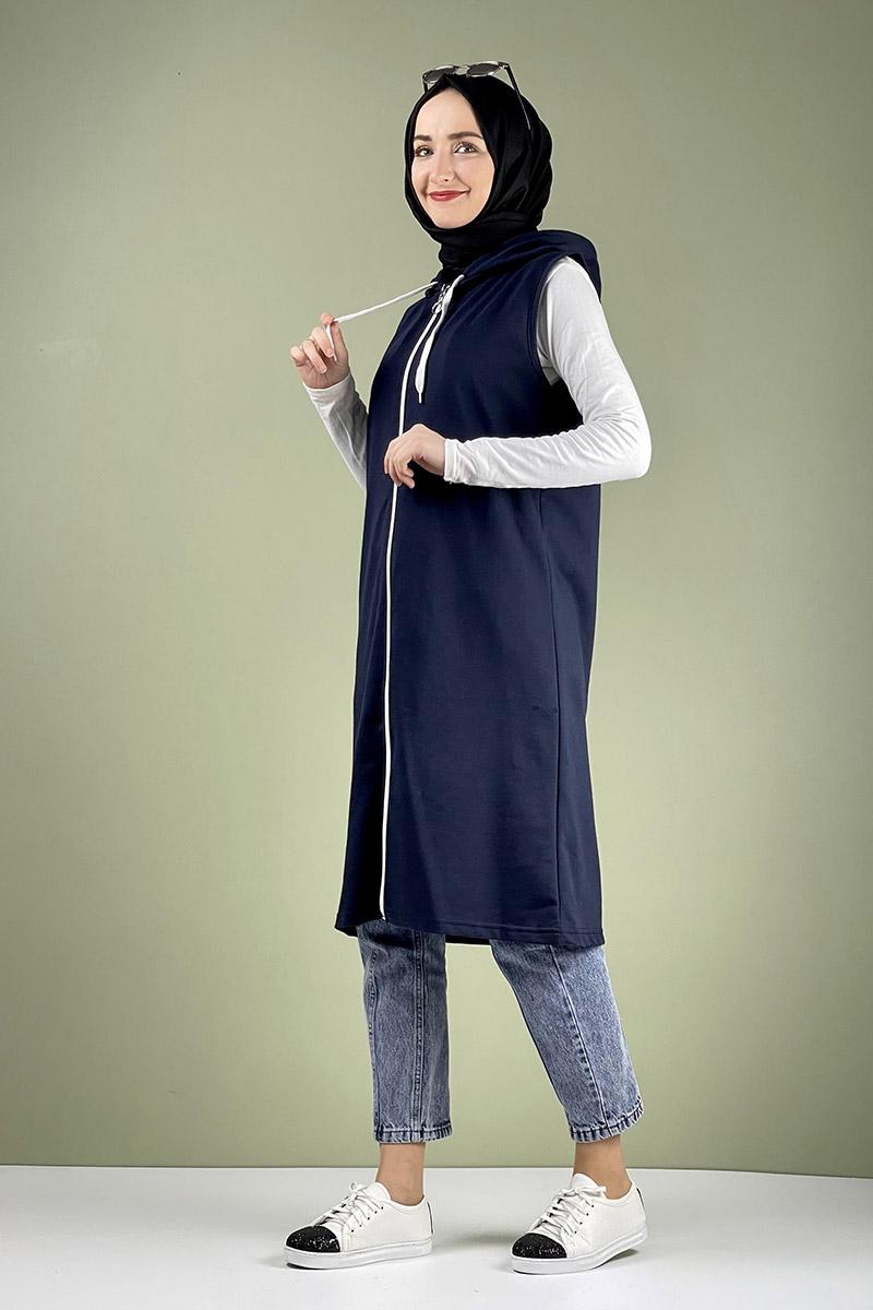 Moda Pinhan - Spor Kapişonlu Yelek Lacivert (1)
