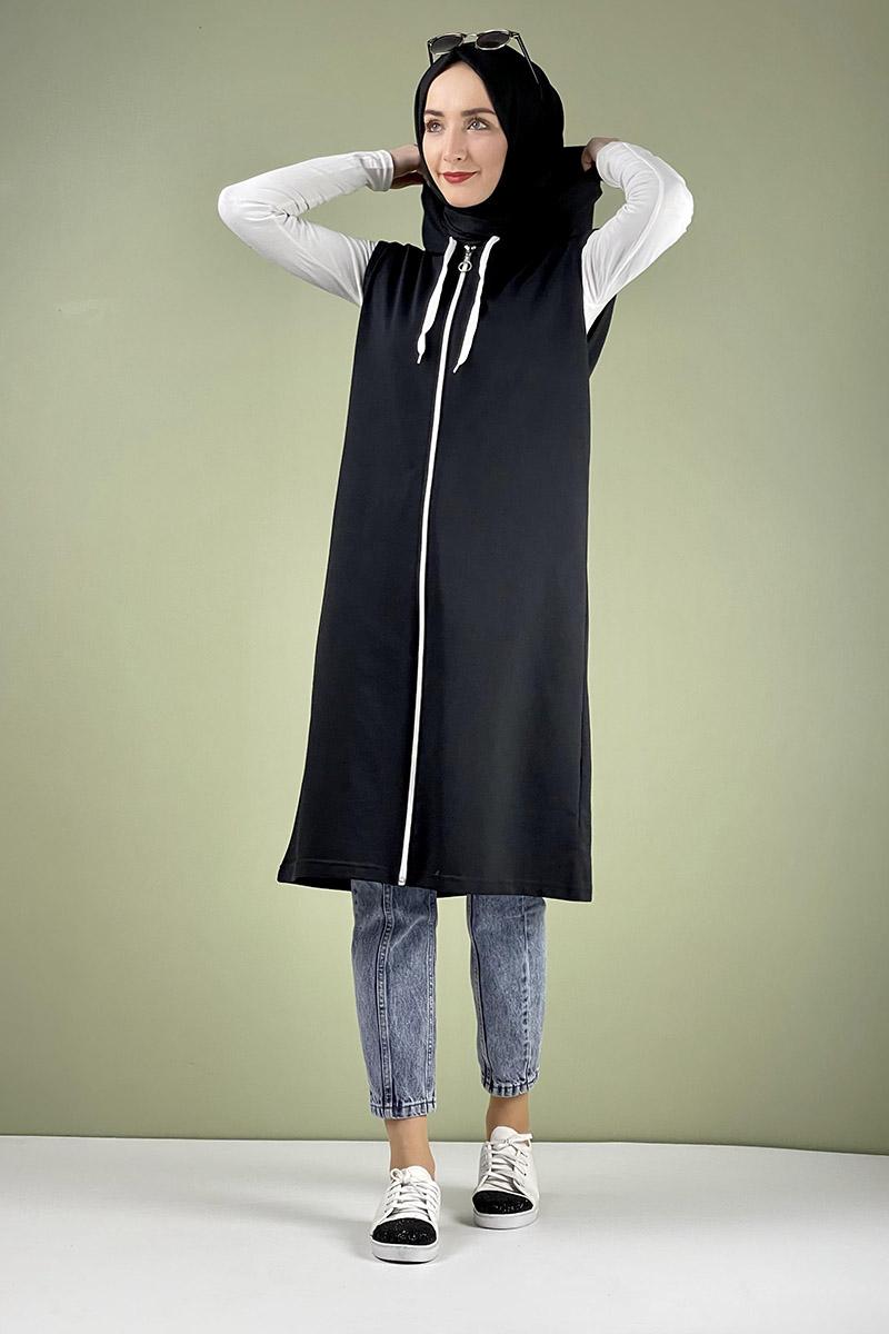 Moda Pinhan - Spor Kapişonlu Yelek Siyah (1)