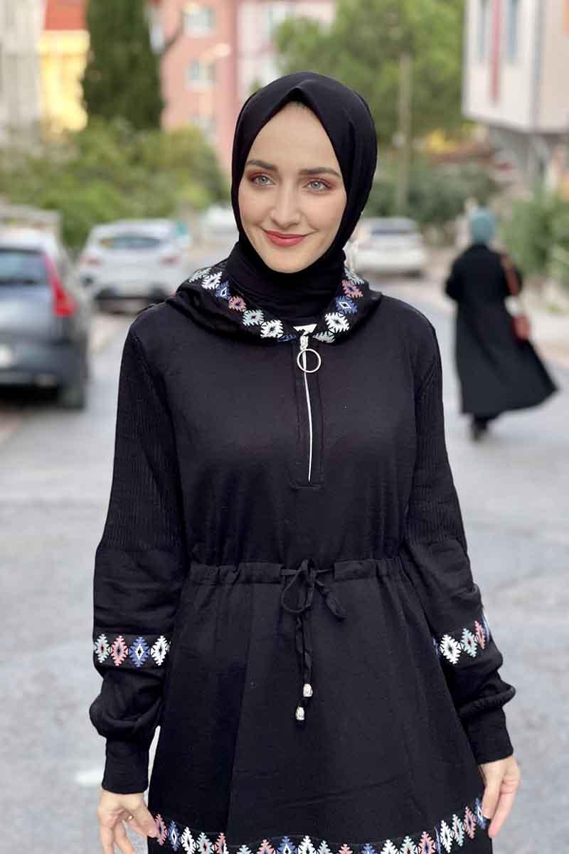 Moda Pinhan - Spor Triko Elbise Siyah (1)