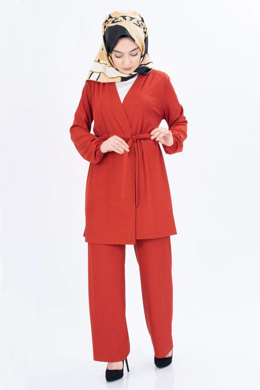 Esilay - Tesettür 3'Lü Pantolon Kremit Takım 9029