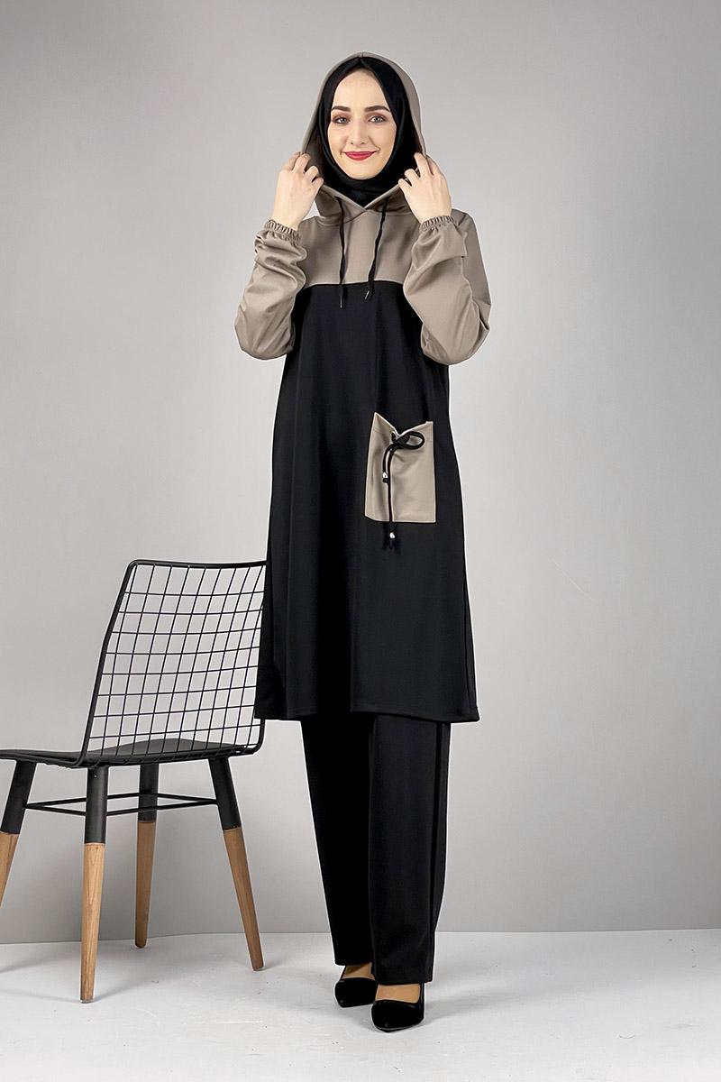 Moda Pinhan - Tesettür İkili Takım Siyah (1)
