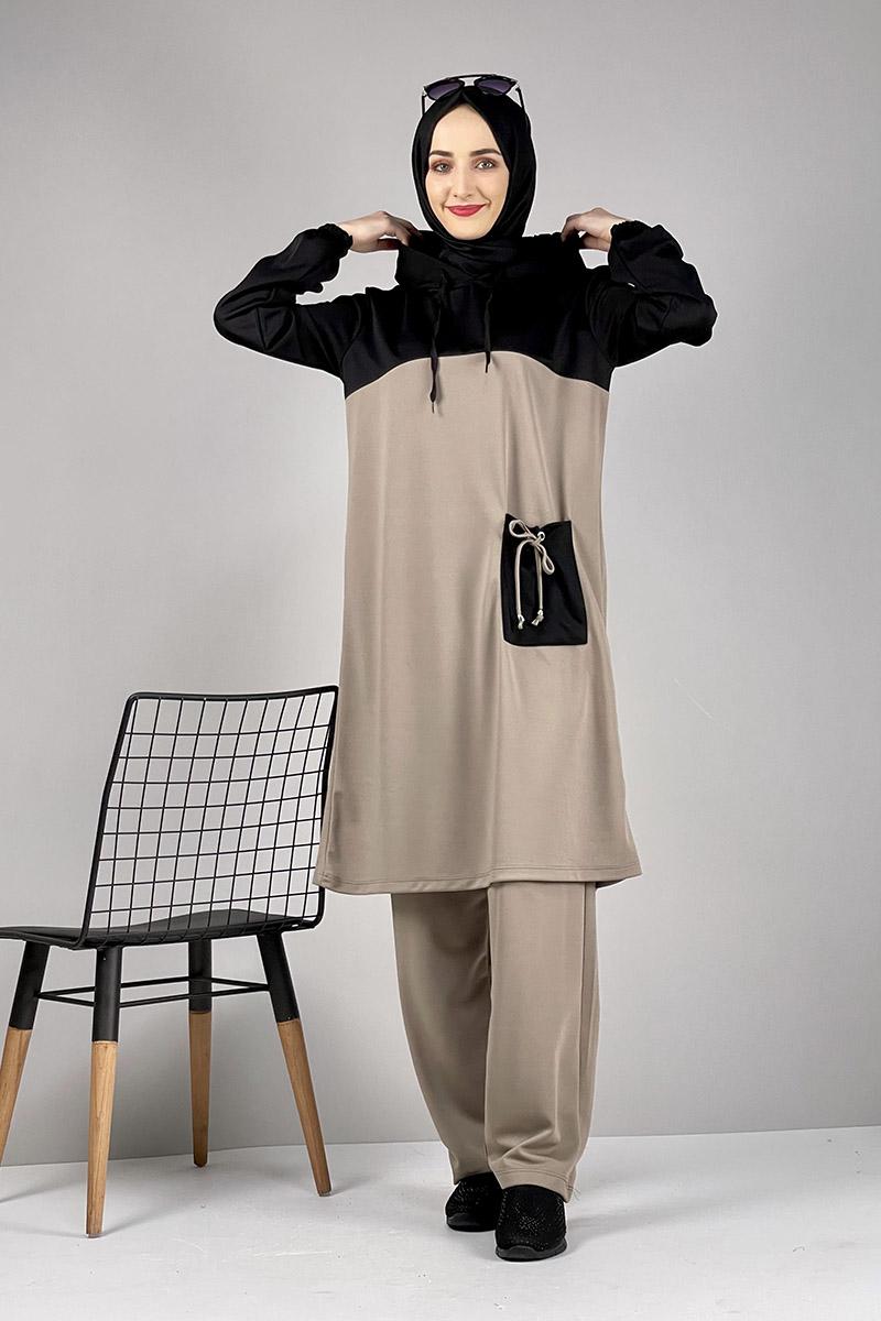 Moda Pinhan - Tesettür İkili Takım Vizon (1)